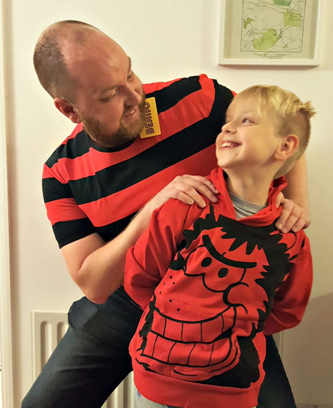Dennis The Menace striped t-shirt and Gnasher hoodie - modelled by DannyUK and son