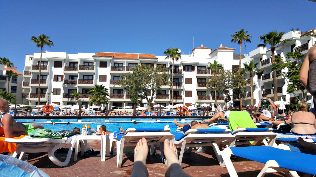 My view across the pool on holiday in Tenerife