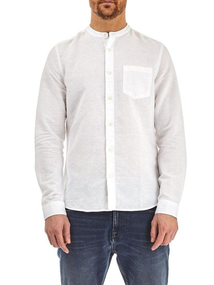 áo sơ mi nam cổ trụ trắng - 5