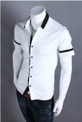 áo sơ mi nam trắng đen - 2