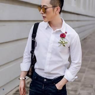 áo sơ mi nam trắng họa tiết