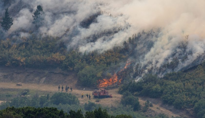 Firefighters keep an eye on the burnout fire as is approaches downhill toward the containment line. Firefighting use of an Unmanned Aircraft System (UAS, or drone) during a burnout operation at a Grizzly Creek Fire containment line in the Glenwood Canyon area near Dotsero, Colorado, on Tuesday, Aug. 25, 2020. (Steve Peterson, Special to The Colorado Sun)