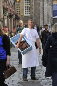 Guy Grieve with his catch on the Royal Mile