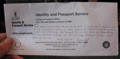 Compliments slip from the passport office