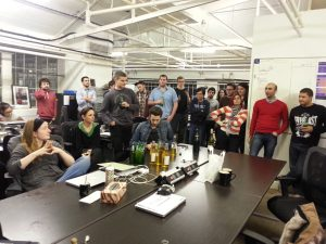 The team at Squiz's London office, debriefing over drinks at the end of a crazy week.