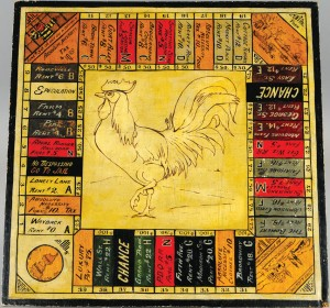 """A home-made 1920s """"Landlord's Game"""" board."""