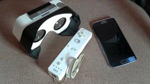 An I Am Cardboard, a Samsung Galaxy S6, and a Nintendo Wii Remote