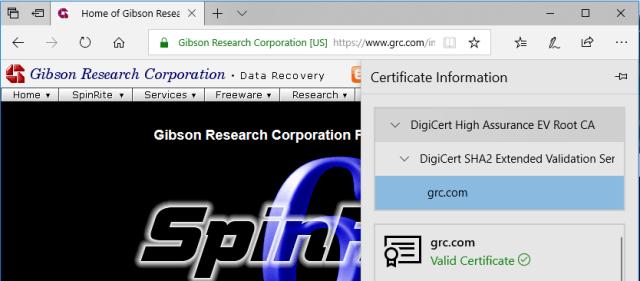 Edge's minimalistic Certificate View.