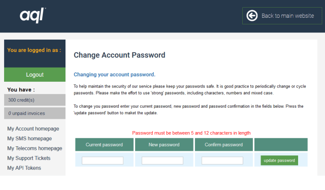 """AQL advise that my password must be """"between 5 and 12 characters"""". In 2018."""