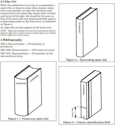 ISO 6357:1985 page illustrating different standard spine title alignments.