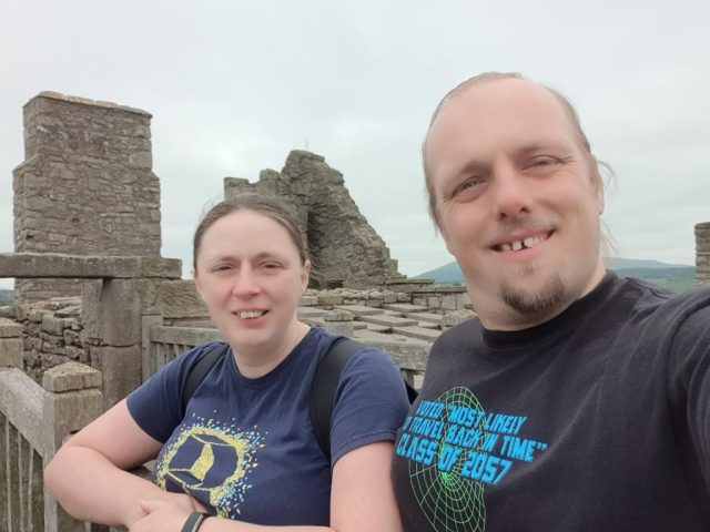 Ruth and Dan atop Craigmillar Castle
