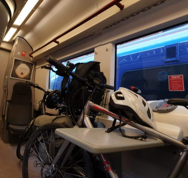 Bikes packed onto the train back to Oxford.