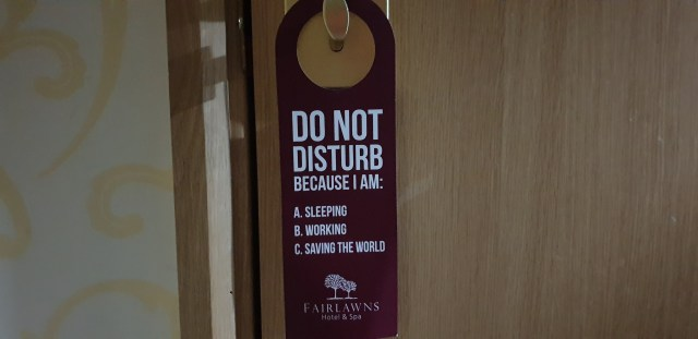 Do Not Disturb sign with reasons: Sleeping, Working, Saving the World.
