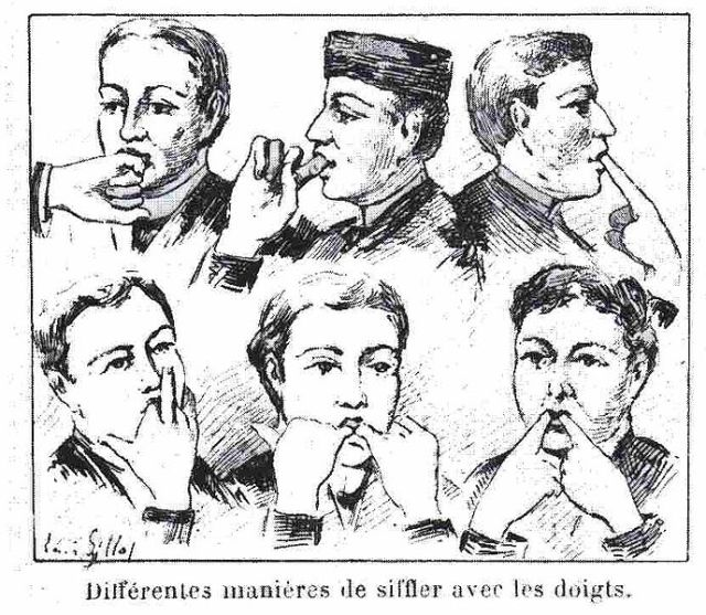 Aus Artikel von H. Coupin (Different ways of whistling with the fingers), Le Monde 1983