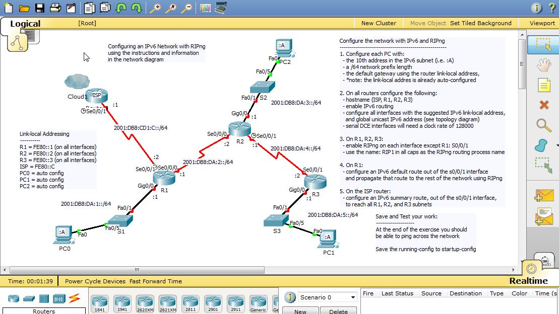 Packet Tracer 6 Activity – RIPng and IPv6