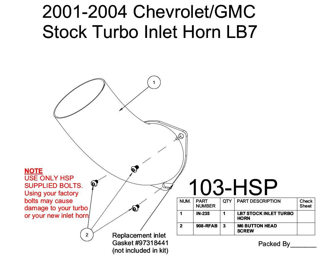Chevrolet Gmc Stock Turbo Inlet Horn Dark Grey