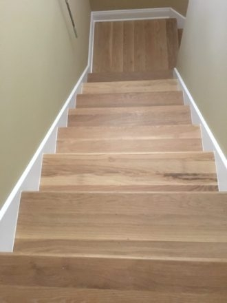 Wire Brushed White Oak Flooring And Staircase Marshview   White Oak Stair Treads   Modern Farmhouse   Wooden   Solid Oak   Wood Stair   Custom