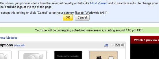 YouTube Scheduled Maintenance Notice