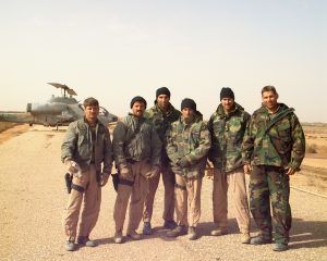 After three days of dust storm, clear and cold weather greeted us on the morning of 27 March, 2003.  We launched moments later for the engagement on pages 197-212.  Left to right: Gash, Shoe, IKE, Weasel, Fuse, BT