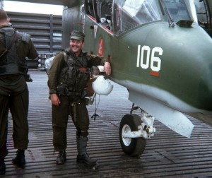 My father, Dan Sheehan, before heading out on a mission in his OV-10 Bronco, Binh Thuy, 1969.  His squadron, VAL-4, was the only navy squadron flying the OV-10 in a close air support role.  His missions in Vietnam, and mine in Iraq, bore striking similarities.