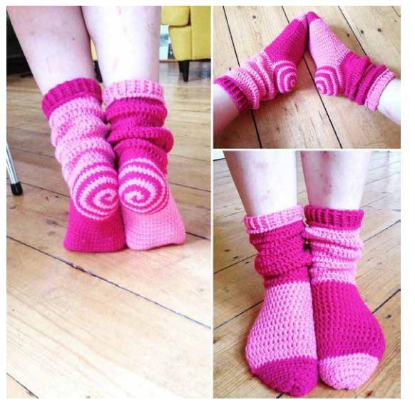 spiral sokker lyserød