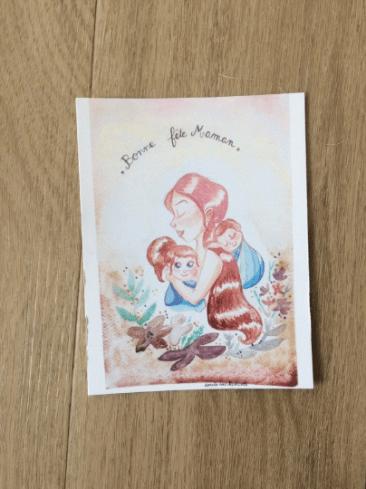 Fête des mères carte. Je vous propose une carte pour célébrer la fête des mères 2021. Imprimée à partir du dessin originale, que vous trouverez également sur la boutique. Elle mesure 10,7 / 13,9 cm. Je l'ai faite imprimer sur un papier épais et mat.