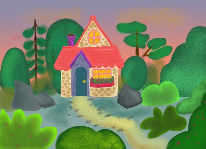 house in wood illustration