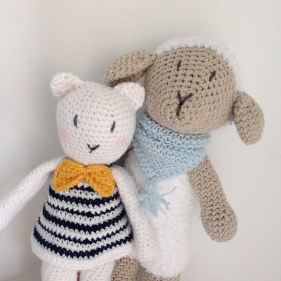 Frimousse le mouton et Colette la minette - Doudous en crochet