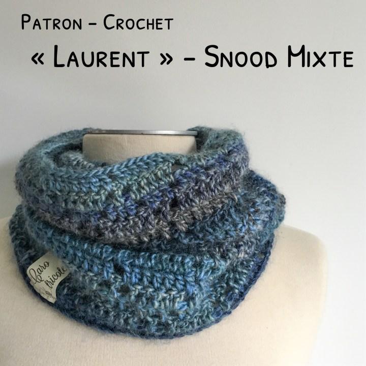 Mon snood «Laurent» au crochet -Modèle homme en Phil Mikado de Phildar