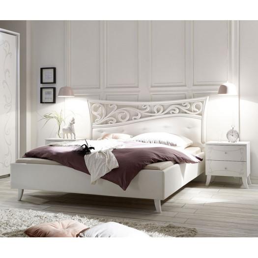 lit 160x200 bois blanc esmeralda