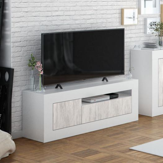 meuble tv 2 portes 1 niche blanc pin blanc baltop
