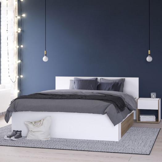 lit avec tiroir 140x190 200 chene blanc lumi