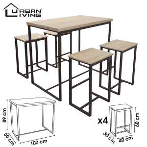 Dock table de bar avec 4 tabourets 151217