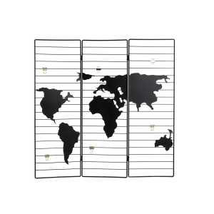 Porte photos cadre du monde en métal noir 58x1x58 cm