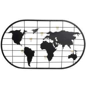 Porte photos carte du monde en métal noir 60x1x35 cm