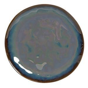 ASSIETTE en grès émaillé 20.5x20x2 verni bleu marine