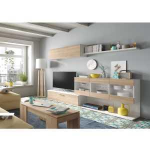Aral meuble tv blanc et chêne 260 cm