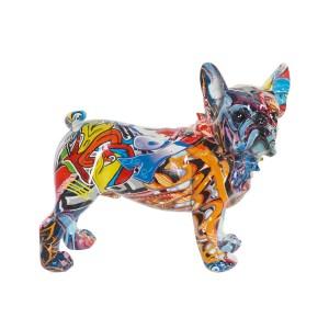 CHIEN Multicolore figure en résine 24x11x20 cm