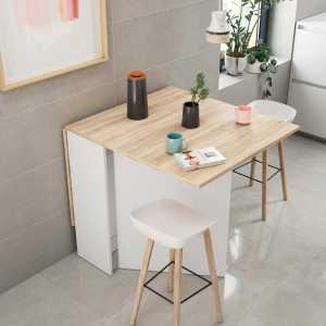 FLY Table de cuisine 140 cm blanc et chêne