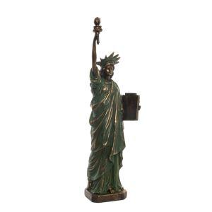 STATUE Liberté vert figure en résine 15x10x48 cm