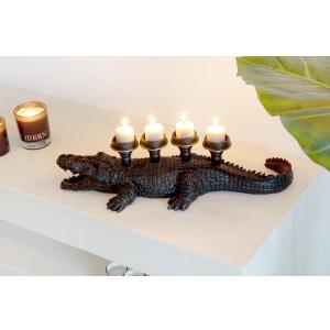 Crocodile noir bougeoir en résine 50x19x13