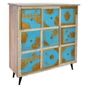 Commode en bois de mangue avec 9 tiroirs vieilli en bleu 85x33x95