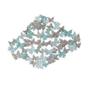 Papillon Bleu décoration murale en métal 100X4X75
