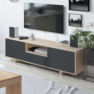 Zaira meuble tv chêne et gris anthracite