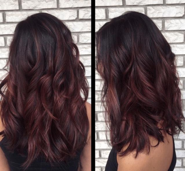 Warna rambut Ombre burgundy