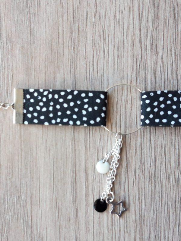 bracelet biais noir pois blanc