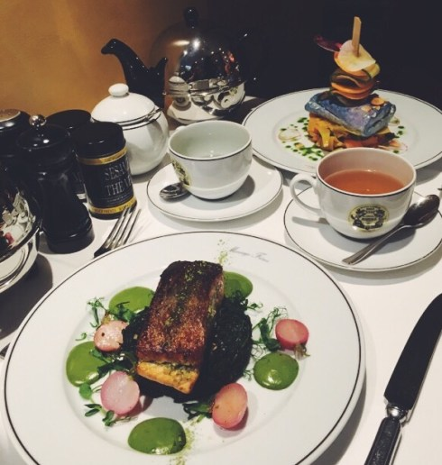 Saumon Matcha Restaurant Mariage Frères Faubourg Saint Honoré Cuisine au thé