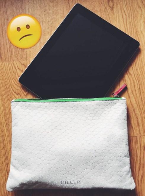 Miller pochette en cuir blanc taille L vanity trousse beauté blog