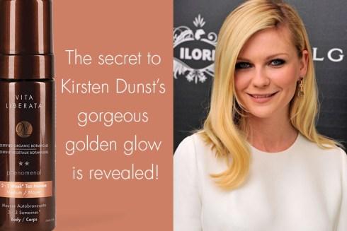 Kirsten Dunst bronzage secret tan Vita Liberata autobronzant