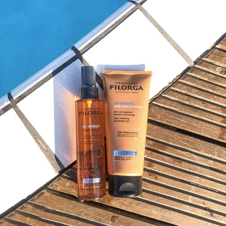 Mon avis sur l'huile corps SPF30 & l'après soleil UV-BRONZE de Filorga blog beauté
